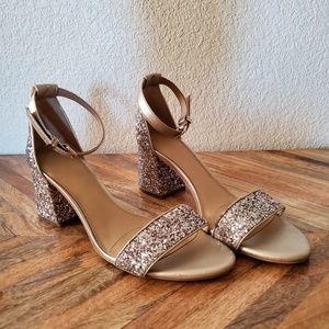 GB Gianni Bini Glitter Ankle Strap Heels Size 9.5
